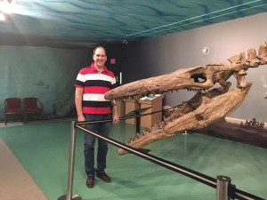 "Jeff Olsson with ""Bruce"" at the Canadian Fossil Discovery Centre"