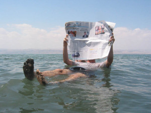 The Dead Sea is so salty that it is possible to float while reading a newspaper