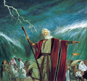Moses parting the Red Sea, Robert T. Barrett